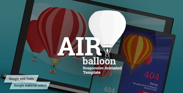 AirBalloon - Animated Responsive Coming Soon and Error 404 HTML5 Template - Specialty Pages Site Templates