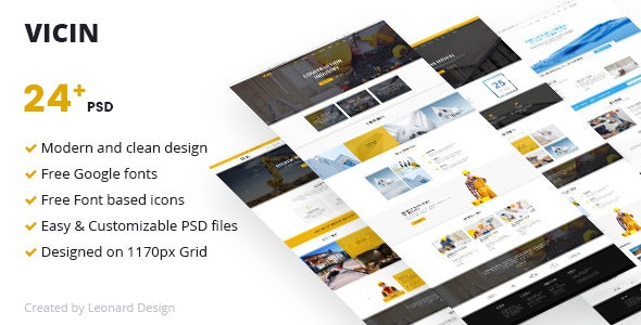 Vicin | Multipurpose Construction & Plumbing PSD Template - Corporate Photoshop