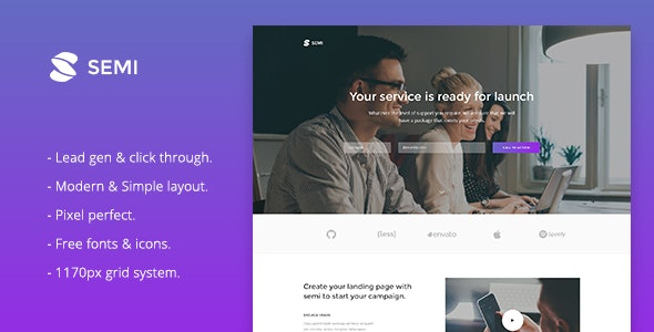 Semi - Service Landing Page Responsive Muse Template - Landing Muse Templates