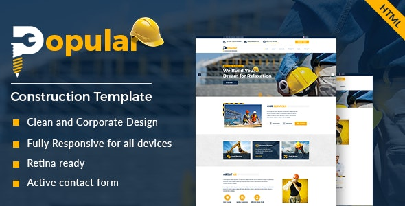 Popular - Construction and Builder HTML Template - Under Construction Specialty Pages