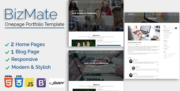 Bizmate - Personal Portfolio Template - Business Corporate