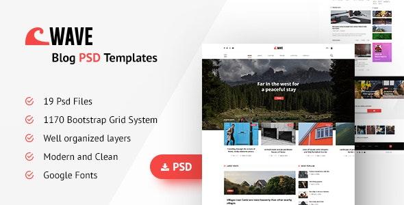 Wave Blog PSD Template - Photoshop UI Templates