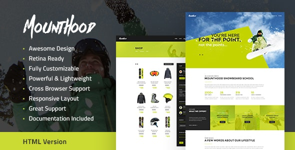 Mounthood | Ski and Snowboarding HTML Template - Retail Site Templates