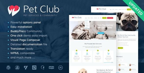 Pet Club - Services, Adoption, Dating & Community WordPress Theme - Retail WordPress