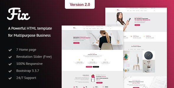 Fix - Multipurpose HTML Template - Business Corporate