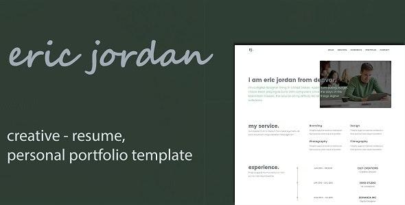 Eric - Creative Personal Portfolio /CV / Resume Template - Personal Site Templates