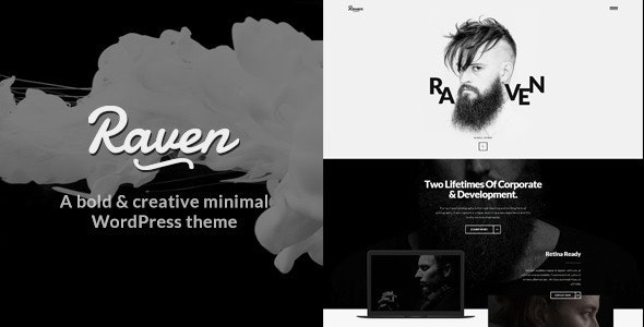 Raven -  Creative Black White Minimal WordPress Theme - Creative WordPress