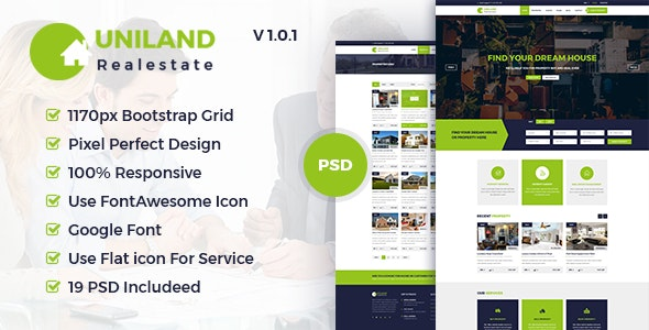 Uniland - Real Estate PSD Template - Business Corporate