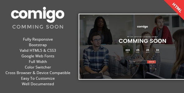 Comigo - Coming Soon HTML Template - Specialty Pages Site Templates