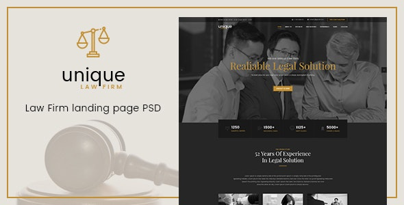 Unique - Law Firm Landing Page PSD Template - Business Corporate