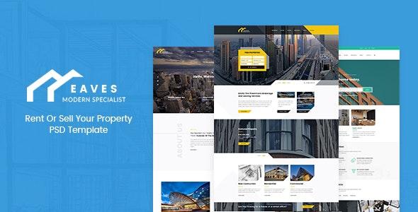 Eaves - Rent Or Sell Your Property, Real Estate  PSD Template - Business Corporate