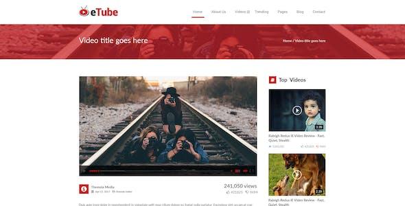 eTube - Video Blog Site PSD Template
