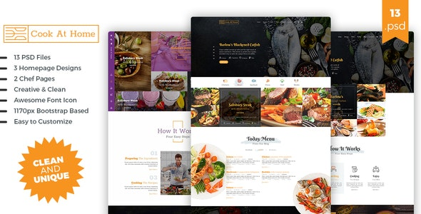 Cook At Home PSD Template - Food Retail