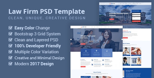 Law Firm, Lawyer, Business PSD Template - Business Corporate