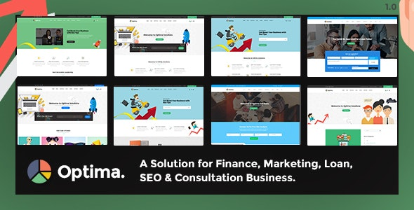 Optima - Multiple solutions for Finance, Marketing, Loan, SEO & Consultation Business, PSD Template - Marketing Corporate