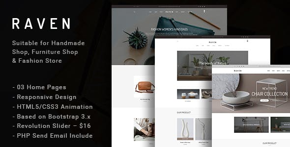Raven - Responsive Handmade, Furniture Shop and Blog HTML5 Template