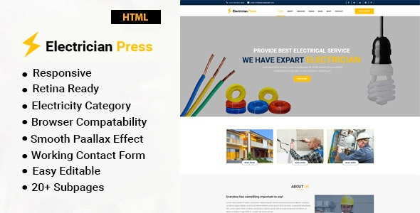 Electrician Press - Electricity Services HTML5 Template - Business Corporate