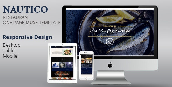 NAUTICO One Page Restaurant Muse Template - Corporate Muse Templates