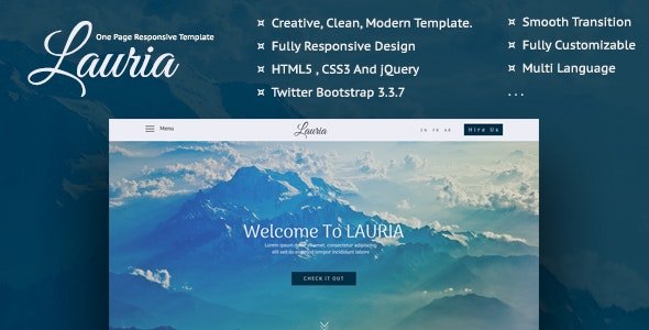 Lauria - One Page Responsive Template - Creative Site Templates