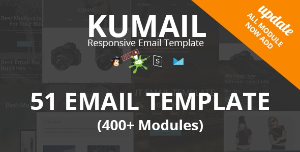 Kumail - 50 Email Template (400+ Modules) + Stampready Builder - Newsletters Email Templates