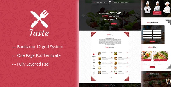 TASTE One Page Restaurant PSD Template - Restaurants & Cafes Entertainment