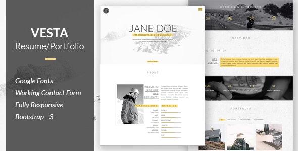 Vesta - Resume/Portfolio - Personal Site Templates