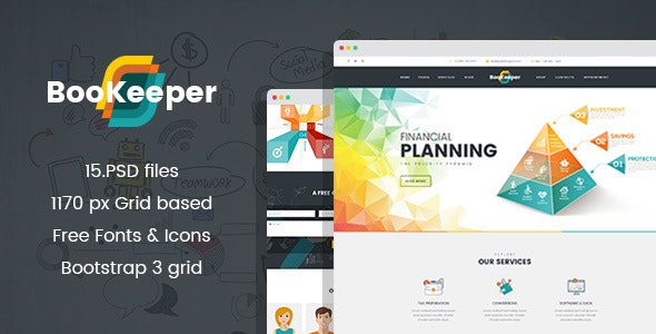 BooKeeper - Finances & Accounting PSD Template - Business Corporate
