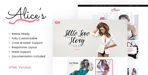 Alice's | Lingerie Store HTML Template - Fashion Retail