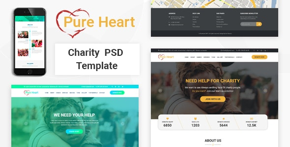 PureHeart - Charity & nonprofit NGO PSD Template - Charity Nonprofit