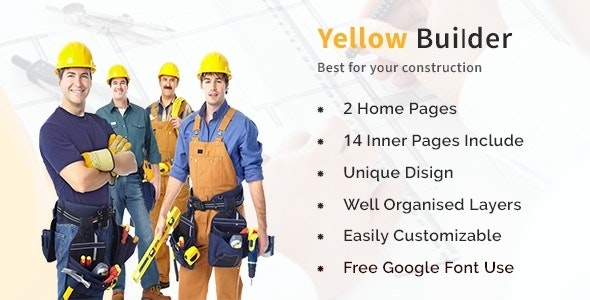Yellow Builder- Construction Psd Template - Photoshop UI Templates