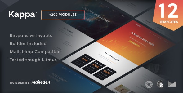 Kappa - 12 Responsive Email Templates + Builder - Email Templates Marketing