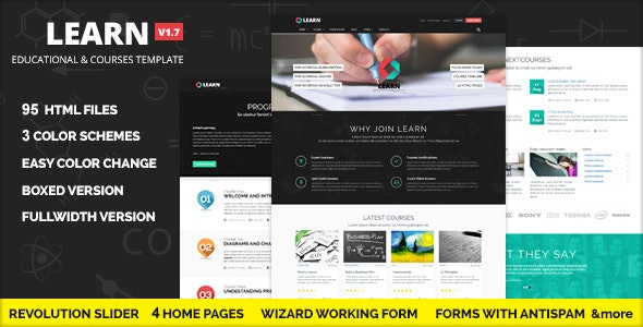 Learn -  Courses and Educational Site Template - Corporate Site Templates