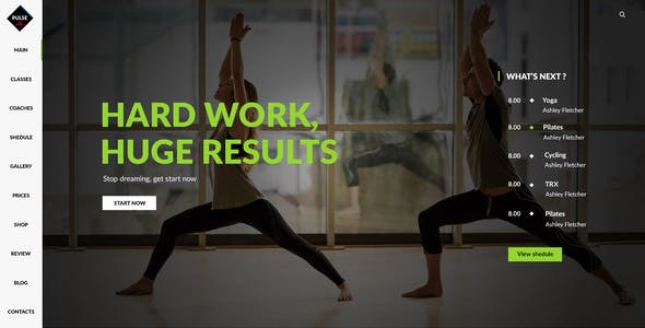 Pulse - PSD for gym, fitness, yoga, crossfit and sport websites with shop.