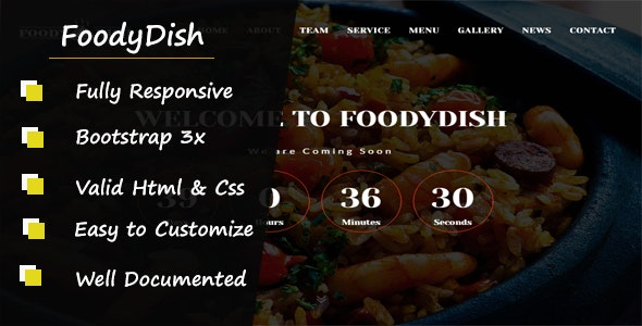Foodydish - Responsive Coming Soon Template - Restaurants & Cafes Entertainment
