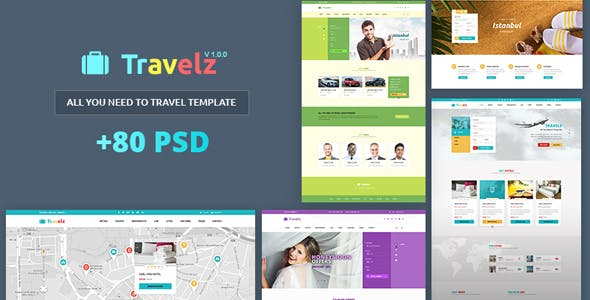 Travelz – Multipurpose Booking PSD Template