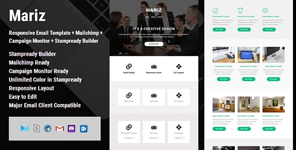 Mariz - 50+ Module Responsive Email Template + Campaign Monitor + Mailchimp + Stampready Builder - Email Templates Marketing