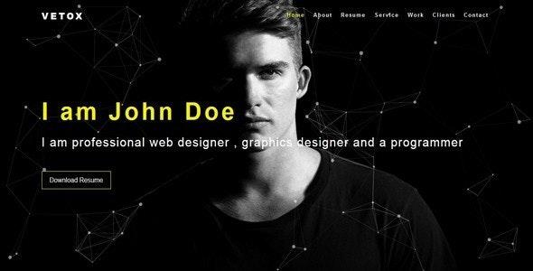 Vetox-Personal / Portfolio Responsive HTML5 Template - Personal Site Templates