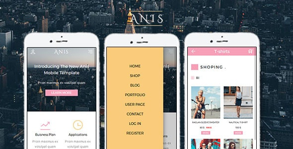 Anis - Multipurpose Mobile Template - Mobile Site Templates