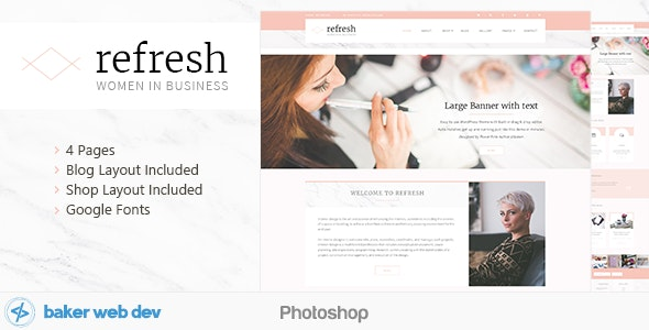 Refresh - Women in Business - Shop & Blog PSD - Corporate Photoshop