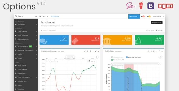 Options Admin - Responsive Web Application UI Kit - Admin Templates Site Templates