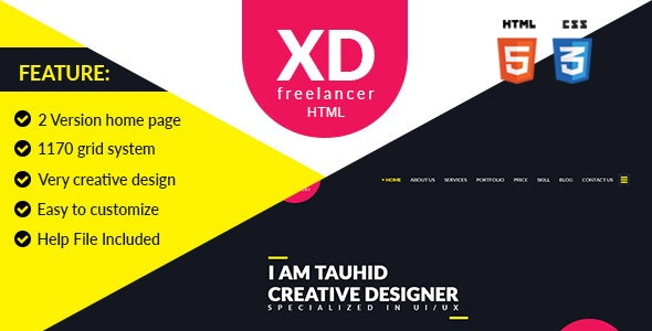 XD Freelancer- Personal/Agency Portfolio One Page HTML Template - Creative Site Templates