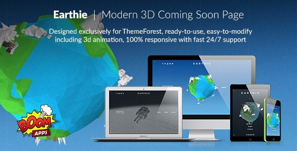Earthie - Creative 3D Coming Soon Template - Under Construction Specialty Pages