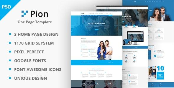 Pion Multi-Purpose One Page PSD Template - Corporate Photoshop