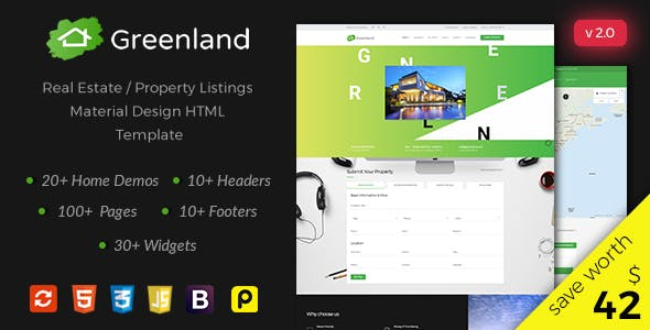 Greenland - Real Estate / Property Listings Material Design HTML Template