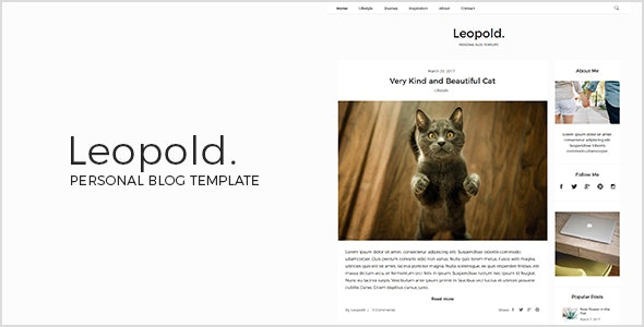 Leopold - Personal Blog Template - Personal Site Templates