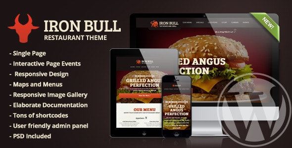 Iron Bull Restaurant Concrete5 Theme - Restaurants & Cafes Entertainment
