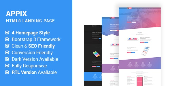 Appix - Creative App Landing Page HTML5 Site Template  (RTL Included) - Creative Site Templates