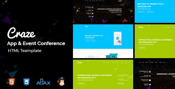 Craze - App Landing, Conference & Event Template - Events Entertainment