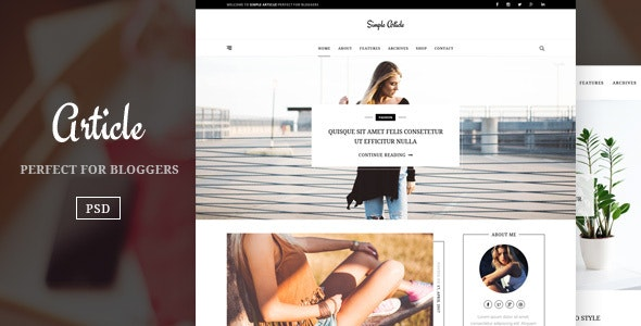 Article – Simple And Minimal Blog Template - Personal Photoshop