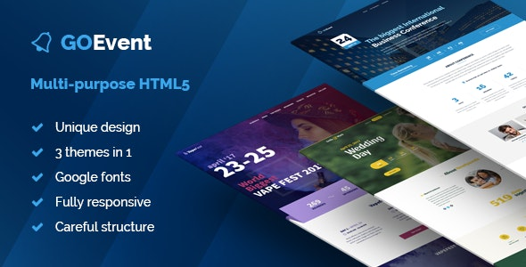 Event – Business Conference, Wedding Day & Vape Fest Multi-Purpose HTML5 Landing Pages - Events Entertainment